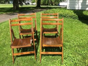 4 Vintage Folding Chair Set Wedding Lot Wood Stackable Wooden Mid Century Modern