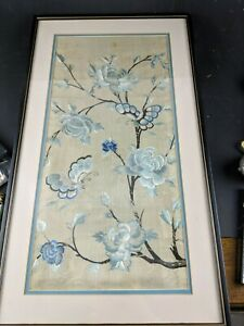 Antique 19 C Chinese Qing Dynasty Framed Silk Butterfly Floral Embroidery