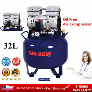 Portable Medical Dental Air Compressor Noiseless Oil less Oil Free 32l 850w