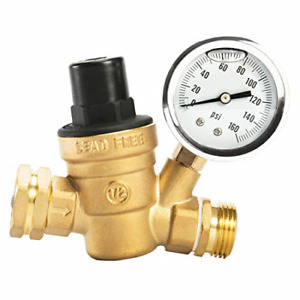 Rv Camper Water Pressure Regulator Gauge Valve Adjustable 3 4 Lead Free Gold New
