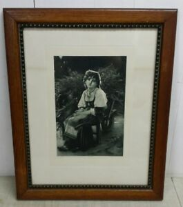 Antique Beaded Mission Oak Frame With 1881 Goupil Co Print 17 5 X 21 5 Oa