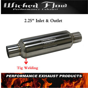 Universal Performance Muffler 2 25 Inlet Outlet Stainless Steel Resonator