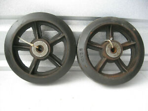 Pair Solid Rubber Cast Iron Wheels With Bearing 10 X 2 5 Nos