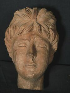 Antique Folk Art Classical Female Head American Carved Wood Sculpture Small Nice