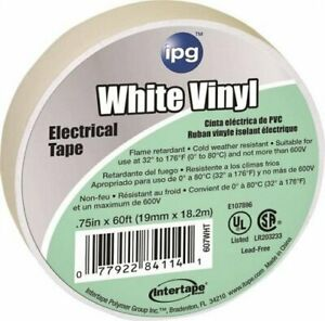 3 4 X 60 White Vinyl Electrical Tape 607wht
