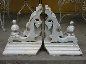 Antique Victorian Shabby Chic Chippy Paint Wood Architectural Corbel Brackets