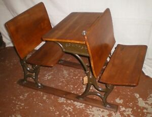 Nice Antique Double Seat Child S School House Desk With Inkwell