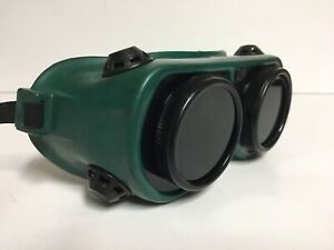 Vintage Ao Z87 Green Black Rubber Welding Goggles Safety Glasses