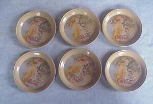 6 Tin Coca Cola  Coasters-1974-Unused-Tan