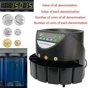 Commercial Automatic Electronic Digital Au Coin Sorter Change Counter Fast Sort