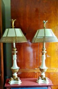 Pair Of Matching American Mid Century Hollywood Regency French Style Table Lamps