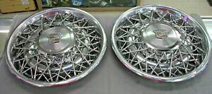 4 Vintage Cadillac Fleetwood Brougham Wire Spoke Hubcaps Wheel Cover Oem 75 79