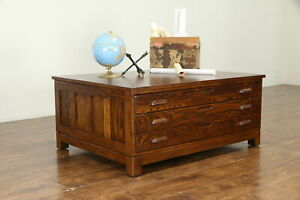 Oak Vintage Map Chest Collector Or Document File Coffee Table 31321