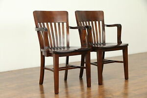 Pair Of Antique 1910 Banker Office Or Library Chairs 31356