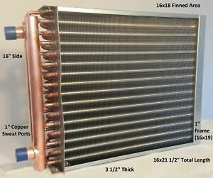 16x18 Water To Air Heat Exchanger 1 Copper Ports W Ez Install Front Flange