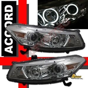Dual Ccfl Halo Led Projector Headlights For 08 09 10 Honda Accord 2dr Coupe