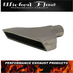 Rectangle 2 5 Inlet Exhaust Tip Polished Plated Stainless Steel Big Slant