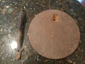 Antique Ideal 66 Cast Iron Wood Stove Cover Lid Lifter Tool Coil Spring Handle