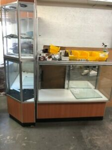 Retail Display Cabinet Glass 2 48 X 20 With Corner Cabinet All With Lights
