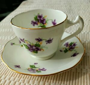 Fine Bone China England Violets Cup And Saucer