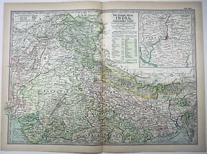 Northern India Original 1897 Map By The Century Company Antique