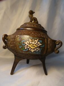 Antique Mid Victorian Bronze Japanese Enamel Inlaid Incense Burner With Lid