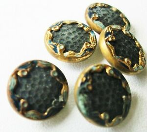 Antique Art Nouveau Enamel Gilt Brass Openwork Shank Sewing Buttons Set Of 5