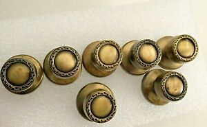 Brass Vintage Round 1 5 Drawer Pulls Knobs With Screws Backplates 1 75 7 Pc