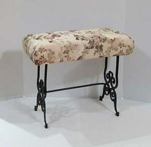 Antique Victorian Vanity Bench Foot Stool Floral Brocade Upholstery