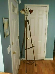 Vintage Decorative Easel Style Handmade Tripod Floor Lamp 2 Duel Head Steampunk