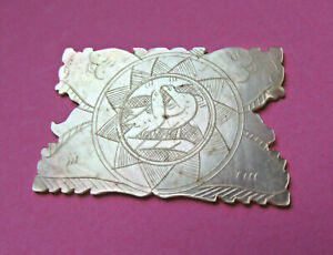 Antique Sew Thread Winder Pearl Engraved Kissing Doves Flora Mythcal Creature