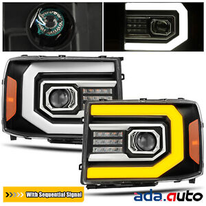 For 2007 2013 Gmc Sierra Sequential Signal drl Led Black Projector Headlights