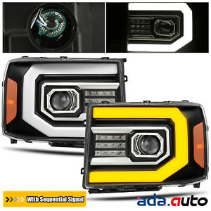 For 2007 2013 Gmc Sierra Sequential Signaldrl Led Black Projector Headlights Fits More Than One Vehicle