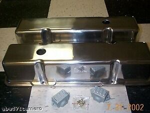 Sb Chevy Polished Aluminum Valve Covers Tall Sbc Alum New Small Block