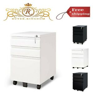 3 Drawer Metal File Cabinet One Lock Wheel Fit Two Stationery Drawer Letter Size