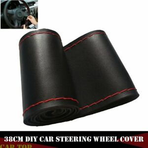 38cm Black Red Leather Diy Car Auto Steering Wheel Cover With Needles And Thread