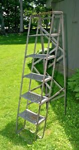 Vtg Industrial Folding Library Steel Ladder Mercantile Display Shelf French 1