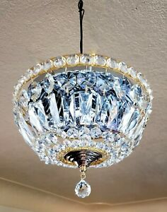 Vintage Flush Mount Brass Crystal Chandelier Ceiling Light Fixture Gorgeous 12