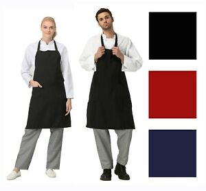 Red Navy Black Apron Restaurant Grill Bbq Commercial Home Kitchen Chef Cook Bib
