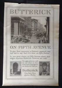 1916 Magazine Ad Butterick Sewing Patterns Fifth Ave Vintage Car Photo Ny