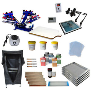 4 Color Adjustable Screen Printing Kit With Exposure Flash Dryer Press Machine