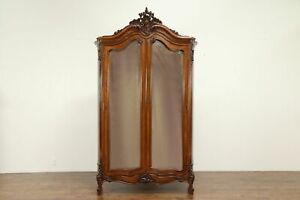 French Antique Rosewood Armoire Wardrobe Beveled Mirrors Shelves 31390