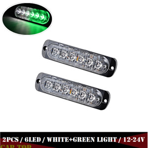2x 6led Car Truck Emergency Beacon Warning Hazard Flash Strobe Light Green White