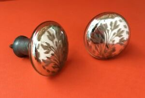 Lot Of 2 Genuine Antique Mercury Glass Curtain Tie Backs Mirrored Etched Rare