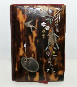 Antique French Carved Tortoiseshell Silver Gold Nacre Card Case Box 19th C