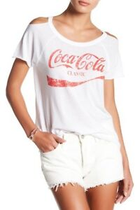 NWT$62 Chaser White Womens Cold-Shoulder Coca Cola Tee T-Shirt  Sz:M
