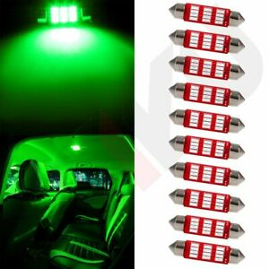 10x Green 41mm Car Led Interior Festoon Light Bulbs 4014 12smd Dome Lamp 578 212