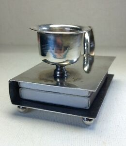 Antique Sterling Silver Double Match Box Holder Candle Holder Chamberstick 3 6