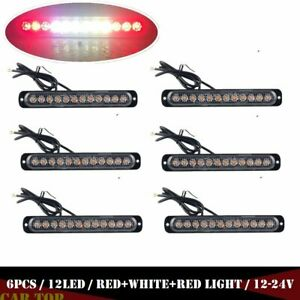 6x Red White Car 12 Led Emergency Strobe Light Kit Flash Warning Beacon Hazard