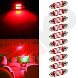 10x Interior Festoon 36mm Red 4014 12smd Dome Map Trunk Lamp Car Led Light Bulbs